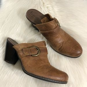 BOC Brown Heeled Leather Mules